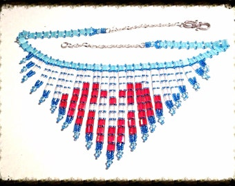 Handmade MWL red, white and blue heart necklace. 0271