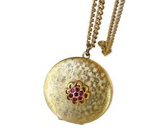 Vintage Gold Tone Red Rhinestone Locket - Brushed Gold,  Rhinestone Locket, Vintage Locket, Vintage Necklace, Vintage Jewelry