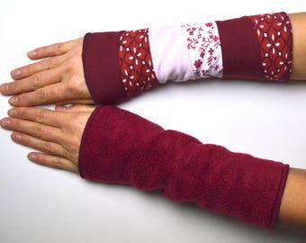 Mittens Arm Warmers Wrist Warmers double sided fleece cotton warm wine red