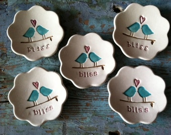 Bridesmaid Gift Ring Dishes Ring Bowls Wedding Party Gifts Jewelry Holder Bliss Design Set of 8