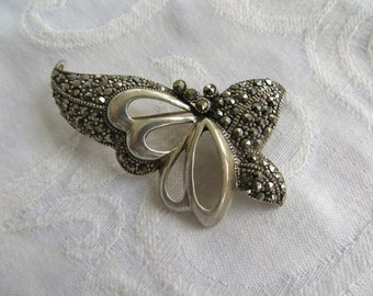 Art Deco Butterfly Brooch, Abstract Butterfly Pin, Sterling Silver, Marcasite, Vintage Butterfly Jewelry