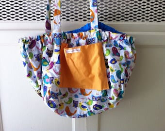 Owls and Birds Reversible Bicycle Basket Liner Tote Bag