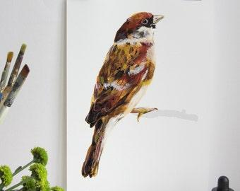 Sparrow Bird Print, Sparrow Print, Illustration Bird Print, Bird Art Print, Nature Print, Bird Print, Wall Print, Wildlife, Wildlife Print