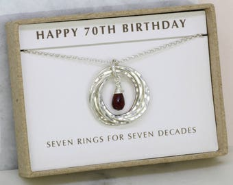 70th birthday gift, January birthstone necklace 70th, garnet necklace for 70th birthday, gift for grandma, mom - Lilia