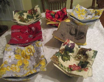 Set of 2 Bowl Koozie, Bowl Holder, Microwavable  Soup Bowl Koozie