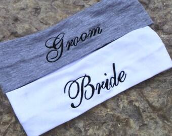 Engagement Gift, Bride & Groom Headband, New Couple Gift, Sweatband 2 PCS