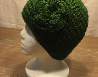 Women's Crochet Hat, Handmade, Crochet Hat for Her, Flower Hat, Deep Forest Green Cap, Winter Cap, Crochet, Gift for Her, Vintage Style Cap