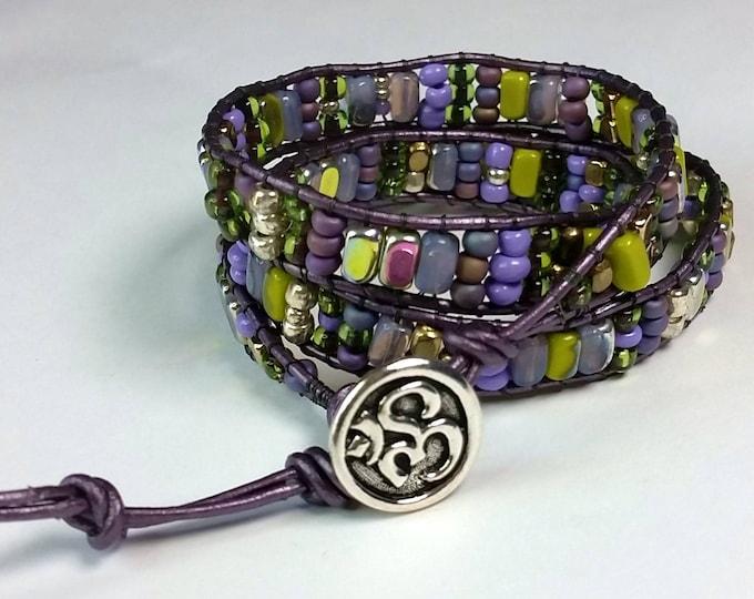 Lavender and Green Leather Wrap Bracelet - Triple Wrap Bracelet - Purples and Greens - Woven Beaded Jewelry - Adjustable Bracelet