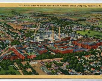 Kodak Park Works Aerial View Rochester New York linen postcard
