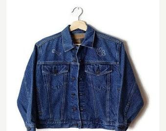 FLASH SALE Vintage 1990s Distressed Jean Grunge Denim Jacket L Unisex pAWGh