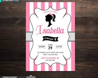 Barbie silhouette invitation Etsy