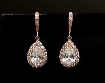 wedding jewelry bridesmaid gift party prom bridal christmas earrings Clear white teardrop diamond cubic zirconia on rose pink gold hook