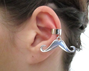 Silver Mustache ear cuff wrap