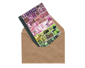 Pink Dusk Collage Notecard - Art Print of Postage Stamp Collage, A6 blank note card, any-occasion greeting card mail art correspondence card