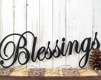 Blessings Metal Sign   Metal Wall Hanging   Metal Wall Decor   Gift For Her   Metal Wall Art   Home Decor   Family Sign