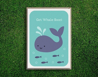 Greeting Cards | Get Whale Soon Card, Get well soon, Encouragment, Silly, Cute, Motivational, Quirky, Pun, Funny Illustration, Kids