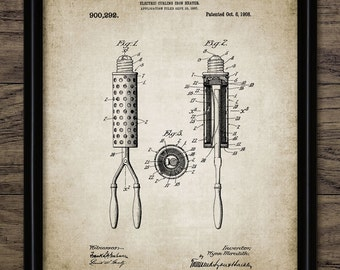 Hair Curling Iron Patent Print - Beauty Technician - 1908 Hair Curling Iron Design - Printable Art - Single Print #447 - INSTANT DOWNLOAD