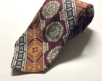 Mandala Necktie - Gift for Him - Vintage Menswear - Prince Consort - Golden Clasp - Gift for Men - Geometric Necktie