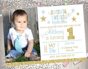 Twinkle Twinkle Little Star 1st Birthday Party Invitation Invite Boy Blue and Gold Printable Photo Picture Invitation