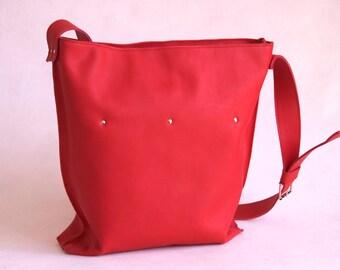 Red Leather Large Shopper Messenger Tote Handbag by BRK