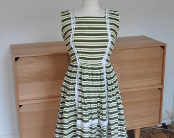 1950s Striped Summer Dress, Dirndl-esque Dress