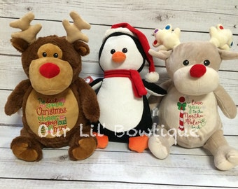 Personalized Christmas Stuffed Animal - Christmas Gift - Personalized Cubby - New Baby - Personalized Baby Gift - Baby's 1st Christmas