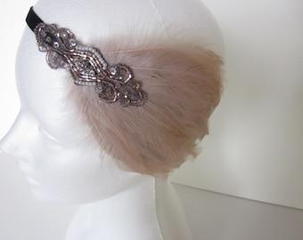 Flapper Dress Headband, Flapper Headband, Great Gatsby Bronze beaded Feather headband, beige feather black 1920s fascinator, stretch elastic