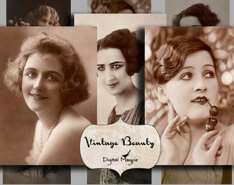 vintage ladies printable digital download collage sheet vintage women photos in shades of sepia for making tags,magnets,mirrors etc