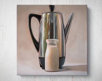 Coffee Percolator and Cream - Oil Painting Giclee Gallery Mounted Canvas Wall Art Print