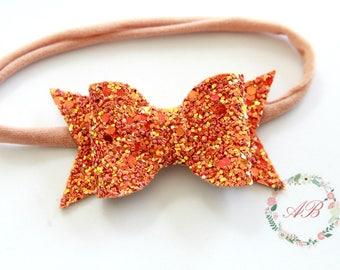 Fall Bow Headband - Baby Bow Headband - Glitter Bow Headband - Pumpkin Bow Headband - Baby Fall Bow - Orange Bow Headband