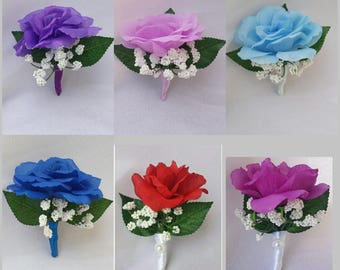Boutonniere Groomsmen Boutonniere Men Boutonniere Wedding Boutonniere Silk Rose Flower Boutonniere Rose boutonnieres Party Boutonnieres Rose