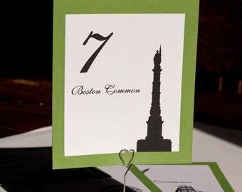 Boston Table Number Wedding Decor Sign Assorted Icons Landmarks Silhouette City