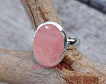 Rose Quartz Ring, Rose Quartz Stone Ring, Sterling Silver Ring, Girls Ring, Gypsy Ring, Silver Stone Ring, Rose Quartz Jewellery, Women Ring
