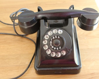 Black Bakelite Rotary Telephone  - 50s Soviet Dial Desk Phone -  VEF -  Antique Russian  Office Decor - Collectibles - made in USSR