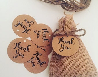 50 x Round Kraft Paper Thank You Tags
