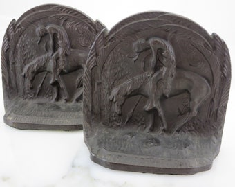 End of the Trail Bookend - Cast Iron Indian on Horse