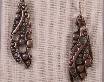 Textured, copper earrings, contemporary, silver ear wires, one of a kind, gift, modern, minimalist