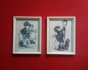 Set 2, Bonnie print, Hummel, children's room print, nostalgic print, children's room decor, nursery wall hanging, Christmas gift, mid century decor
