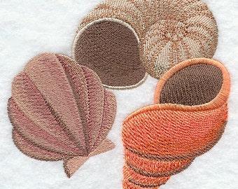 Seashells Medley Embroidered Flour Sack Hand/Dish Towel