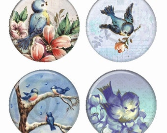 Bluebirds on Blue Magnets or Pinback Buttons or Flatback Medallions Set of 4