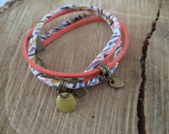 Bracelet doubles tour multicoloured liberty and coral cord - creative challenge
