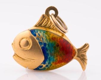 Circa 1950s Vintage 14K Gold & Cloisonne Enamel Rainbow Fish Pendant Charm, VJ #172A