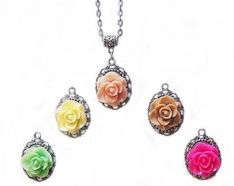 Necklace, rose on a chain . pink, white, green, brown