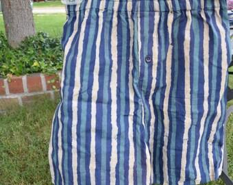 Men's Handmade Cotton Underwear Boxers Briefs by Mumtaz Creations  - Small or Medium - Navy Stripe - Rowan I903