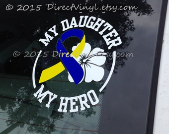YOU CHOOSE TEXT Down Syndrome Awareness Ribbon Hero/Flower Decal