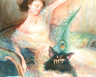 Tease (print) - beauty and the beast, peacock feather, woman and pet, monster, artwork, illustration