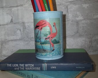 Pink Flamingo ~ Painted Tin Can ~  Pencil Holder ~ Upcycled Tin Can ~ Decoupage Tin Can