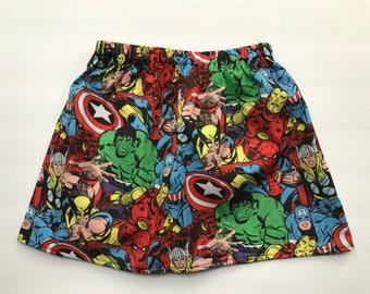 Skirt-Marvel comics- marvel superhero skirt- marvel skirt- kids skirt- toddler skirt- little girl skirt- cotton skirt