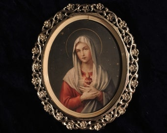 Vintage 1950's Immaculate Heart Of Mary Picture