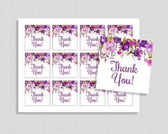 Floral Favor Tags, Purple Watercolor Floral Thank You Party Favor Tags, Baby Shower, INSTANT PRINTABLE
